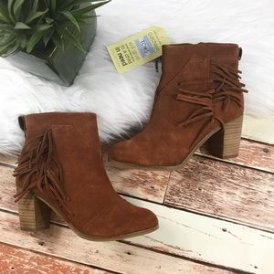 NEW Toms suede fringe side heeled booties